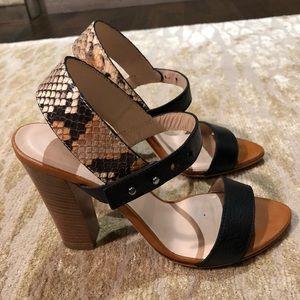 "Club Monaco black leather and snakeskin 4"" heels."